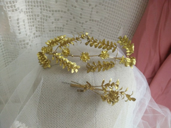 Old golden myrtle wedding Tiara, vintage german my