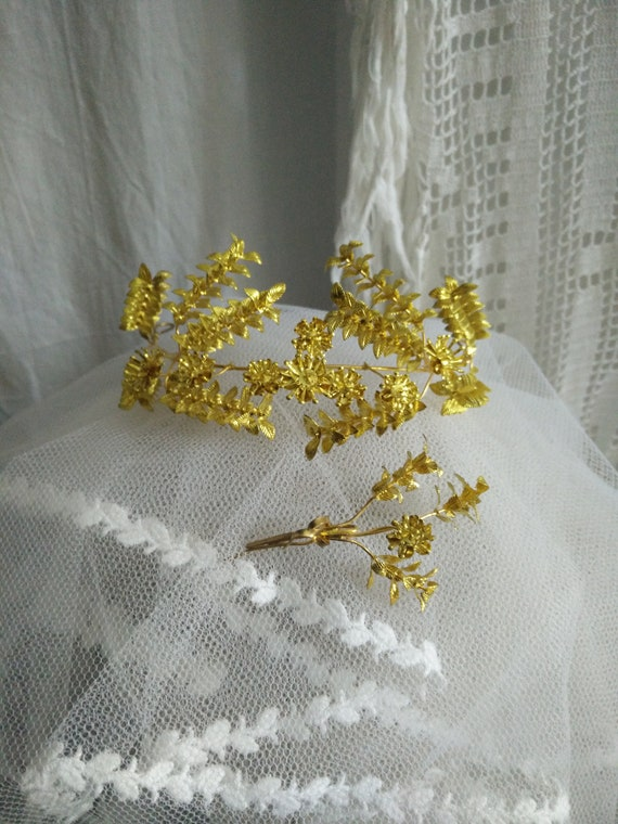 Elegant golden myrtle Tiara, german wedding crown,