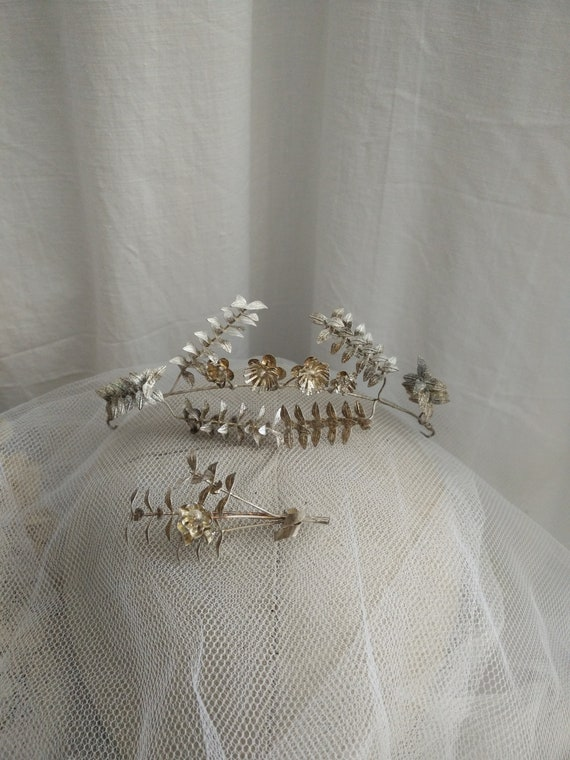 800 silver german myrtle Tiara, wedding Tiara, bou