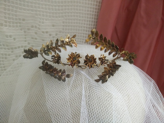 Vintage german myrtle Tiara, golden, blackend wedd