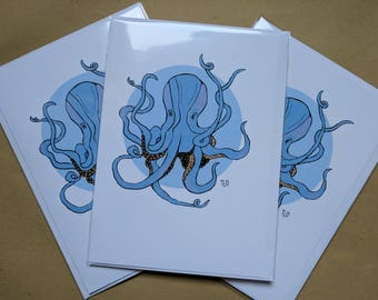 Gift Cards 3 PER PACK Blue Cute Little Octopus