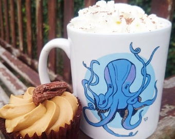 Original Design Mug Blue Cute Little Octopus