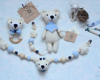 Personalized crochet baby gift set,handmade, bear,pacifier holder, teether ring- rattle and stroller chain rattle toy, gift for sweet babies