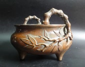 BestOffer-Old Chinese Bronze Incense Burner Bamboo Handles Censer quot ZhengDe quot Mark