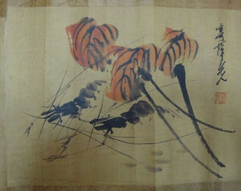 cfc69ca10 Very Long Fine Old Chinese Scroll Hand Painting Shrimp
