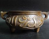 BestOffer-Fine Chinese Antique Bronze Incense Burner Handles Censer quot XuanDe quot Marks