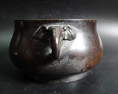 BestOffer-Antique Chinese Bronze Elephant Heads Censer Incense Burner quot XuanDe quot Mark