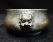 Old Chinese Bronze quot FooDog quot Handles Incense Burner quot XuanDe quot Censer Mark