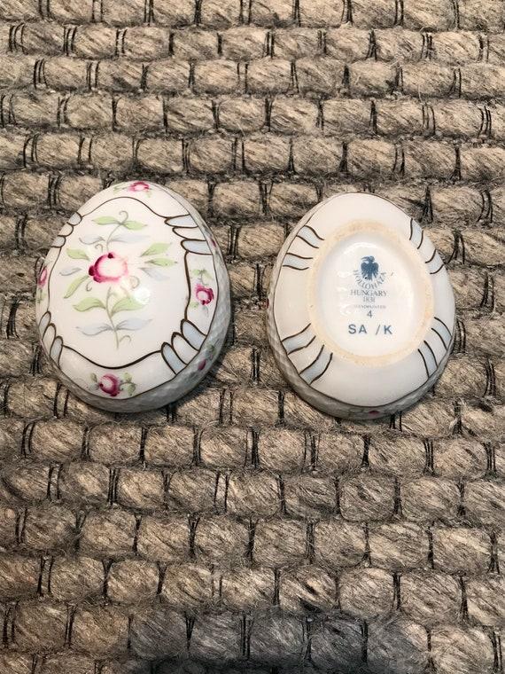 Vintage Hollohaza Hungarian Porcelain Egg Shaped … - image 4