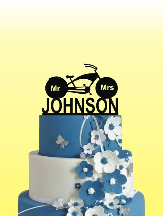 Motorcycle Wedding Cake Topper Mr And Mrs Cake Topper Last | Etsy