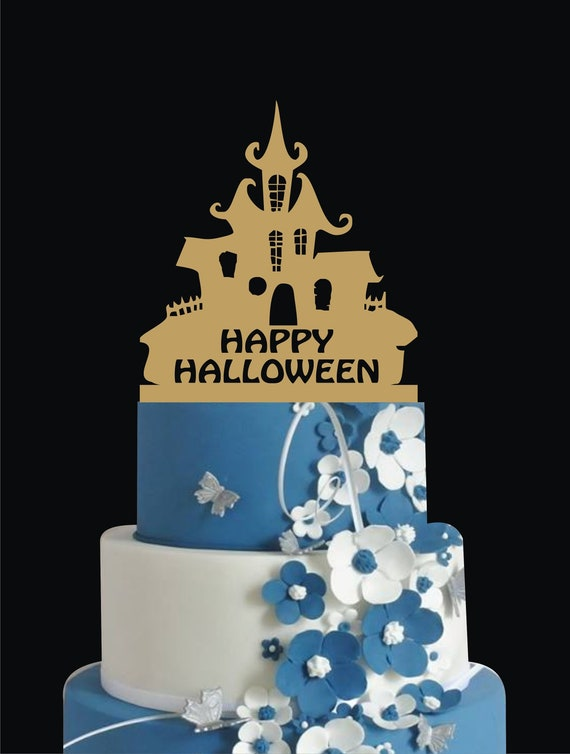 Marvelous Happy Halloween Halloween Cake Topper Haunted House Cake Etsy Personalised Birthday Cards Epsylily Jamesorg