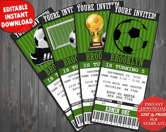 Soccer Ticket invitation, Soccer invitation, Soccer birthday invitation, Soccer Party, Soccer Birthday - Instant Download Editable PDF