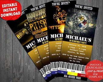 Steelers party etsy pittsburgh steelers pittsburgh steelers download birthday invitation pittsburgh steelers birthday ticket digital file pdf filmwisefo