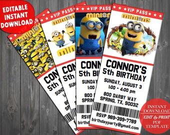 Minion Birthday Invitation Minions Party Invite