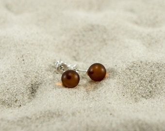 Amber earrings, cherry unpolished round natural amber bead earrings (more sizes) 4979, 4980