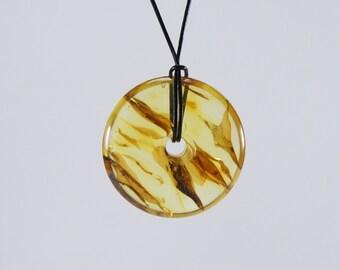 Amber donut pendant, raw, genuine, original, clear natural amber pendant Certificate 3703
