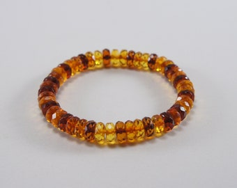 Amber bracelet, faceted, mixed, clear, cognac, cherry gasket natural amber bead bracelet Certificate 3658