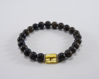 Amber bracelet, insect inclusion, black and clear, unpolished, round natural amber bead bracelet Certificate 3693