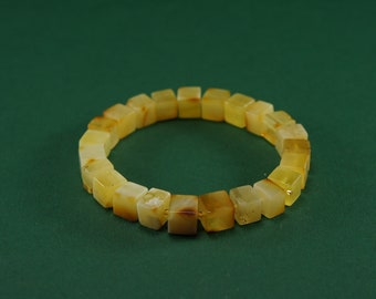 Amber bracelet, matte, yellow, butter cube natural amber bead bracelet,with glass pearl,Certificate  3663