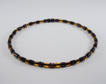 Amber men necklace, jewelry, accessory, cognac elliptical and cherry gasket natural amber bead necklace 3695