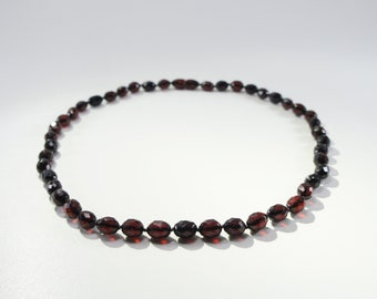 Amber necklace, faceted, cherry oval natural amber bead necklace Certificate 3698