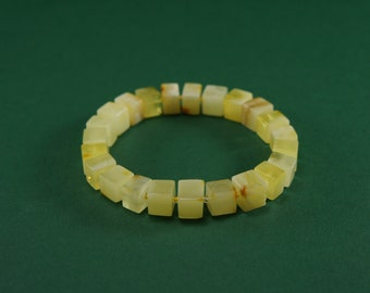 Amber bracelet, matte, yellow, butter cube natural amber bead bracelet,with glass pearl,Certificate  3662