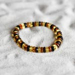 Amber bracelet, faceted mixed round natural amber bead bracelet 4768