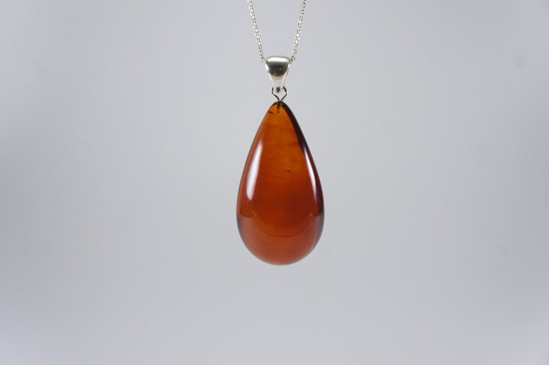 Amber pendant cherry teardrop natural amber pendant image 0