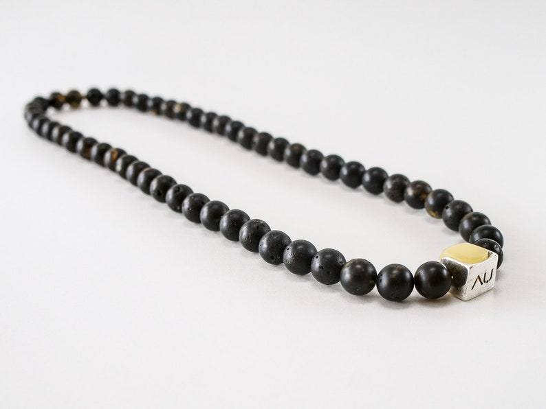Amber men necklace jewelry accessory black dark round image 0