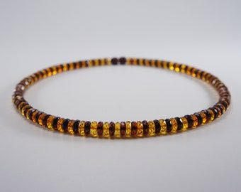 Amber necklace, faceted, gasket, mixed round natural amber bead necklace Certificate 3657