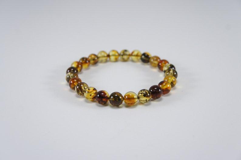 Amber bracelet dark polished round natural amber bead image 0