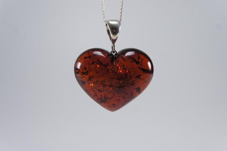 Amber heart pendant cherry natural amber pendant Certificate image 0