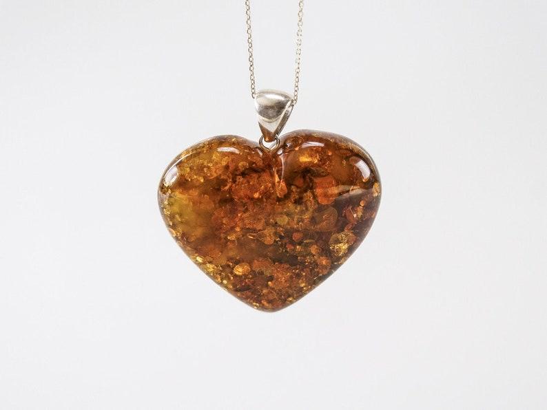 Amber heart pendant yellow honey cognac natural amber image 0