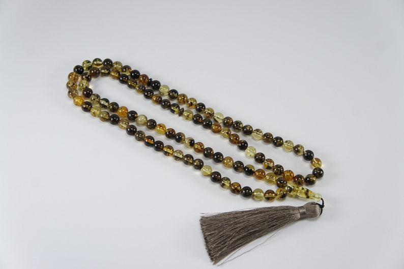 Amber tesbih misbaha black dark round natural amber prayer image 0