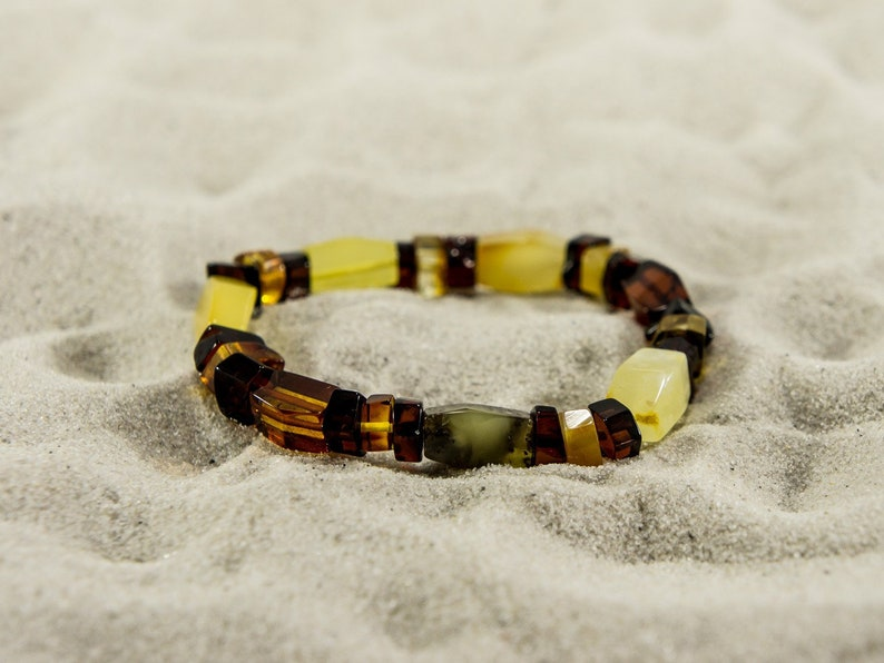 Amber bracelet mixed freehand natural amber bead bracelet image 0