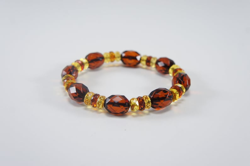 Amber bracelet cherry faceted elliptical and cognac gasket image 0