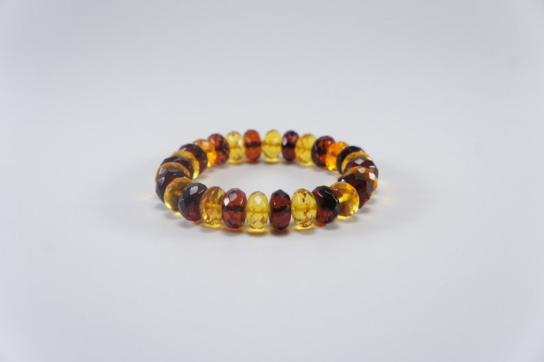 Amber bracelet faceted mixed round natural amber bead image 0