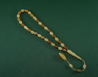 Amber tesbih, misbaha, rosary, cream, matte,mixed, vintage elliptical, natural amber prayer beads Certificate 3697