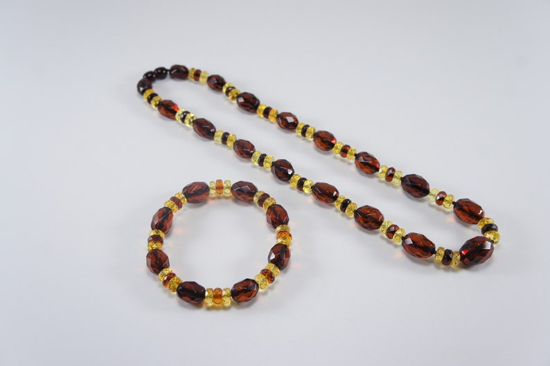Amber necklace bracelet facetedelliptical cherry and cognac image 0