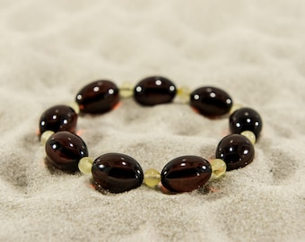 Amber bracelet, cherry elliptical and butter round natural amber bead bracelet 4936
