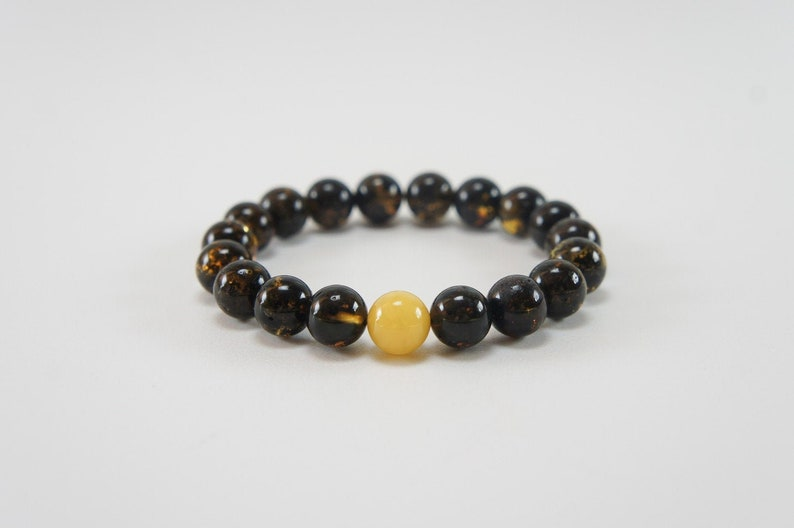 Amber bracelet dark and honey polished round natural amber image 0