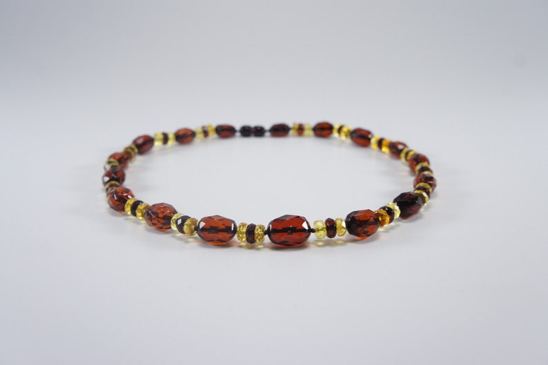 Amber necklace cherry faceted elliptical and cognac gasket image 0