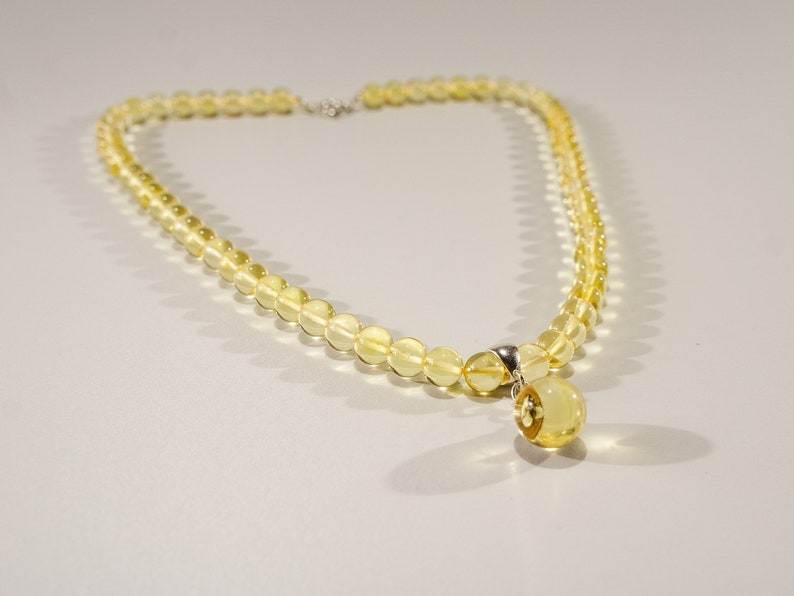 Amber necklace clear round natural amber bead necklace with image 0