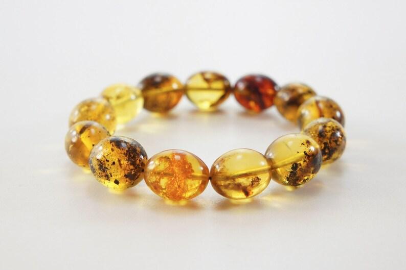 Amber bracelet clear dark color natural amber bead bracelet image 0