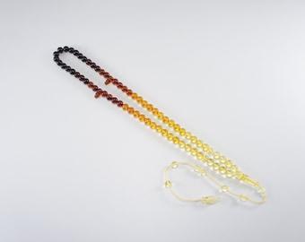 Amber tesbih, misbaha, Tarboosh, Imame, faded dark cognac round natural amber prayer beads Certificate 4285