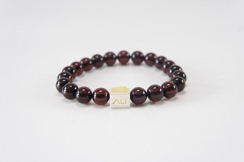 Amber bracelet men women rubber amber jewelry logo clear image 0