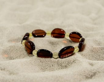 Amber bracelet, cherry freehand and sunny round natural amber bead bracelet 4996