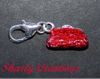 Charm charm on clasp purse wristlet enamel