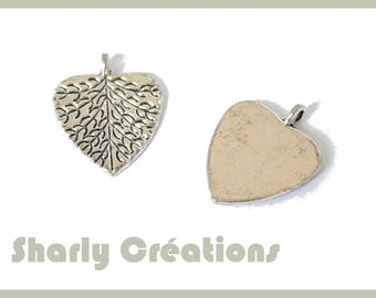 5 pendants heart antique silver leaf charms