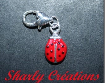Charm on clasp red enamel Ladybug charm